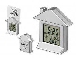 Plastové stolní multifunkční hodiny VILLA s magnetem - saténově stříbrná