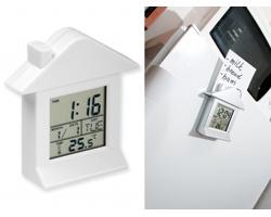 Plastové stolní multifunkční hodiny VILLA s magnetem - bílá