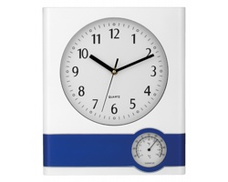 Nástěnné hodiny SELINA s teploměrem - modrá