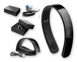 Plastová skládací bluetooth sluchátka GENUINE v originálním designu - černá