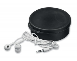 Plastová audio sluchátka pecky BUD v plastovém pouzdře - černá