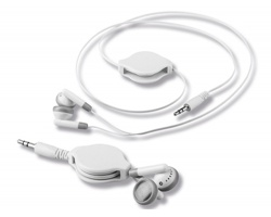 Plastová sluchátka pecky REEL se samonavíjecím kabelem - bílá
