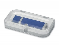 Plastová krabička na USB FLASH disk USB BOX II s uzavíráním na magnet - transparentní