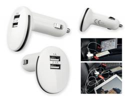 Plastový USB adaptér do auta PLUG pro nabíjení až 2 zařízení současně - bílá
