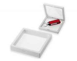 Plastový rámeček s průhledem UNIFRAME II na USB flash disk - bílá