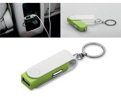 Plastový přívěsek USB adaptér do auta CARTECH pro nabíjení mobilních telefonů - světle zelená