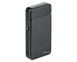 Kovový USB zapalovač CLOONEY s 2 plazmovými oblouky a dobíjecím kabelem - černá