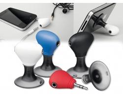 Plastový stojánek na mobil TWINS s dvěma výstupy pro sluchátka - černá