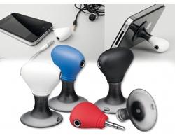Plastový stojánek na mobil TWINS s dvěma výstupy pro sluchátka - bílá