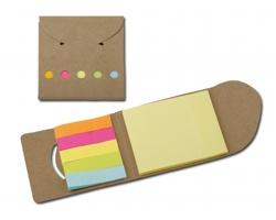 Barevné lepicí papírky DEVITO v papírových deskách - přírodní