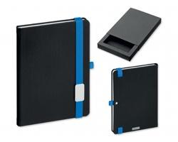Poznámkový zápisník LANYBOOK s gumičkou, 140x205mm - modrá