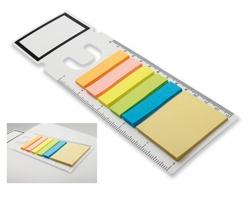 Plastová záložka GARAN s pravítkem a lepicími papírky - bílá