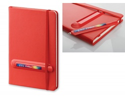 Poznámkový zápisník LINKED s gumičkou a plastovým perem, formát A5 - červená