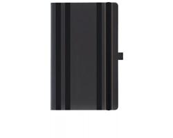 Poznámkový zápisník s gumičkou STRIPES CLASSIC, formát A5 - černá
