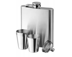 Sada nerezové placatky a čtyř pohárků NOVAK SET, 200 ml - stříbrná