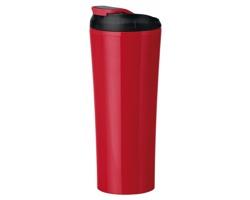Plastový termohrnek s dvojitou stěnou ANDRE se šroubovacím víčkem, 450 ml - červená