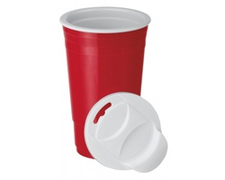 Plastový termohrnek GOBLET s dvojitou stěnou, 500 ml - červená