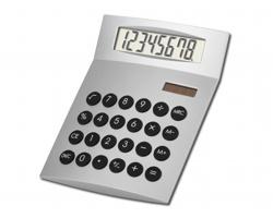 Plastová kalkulačka JETHRO - saténově stříbrná