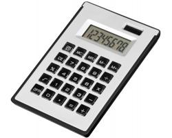 Plastová kalkulačka ZIGGY s lepicími papírky a kuličkovým perem - saténově stříbrná