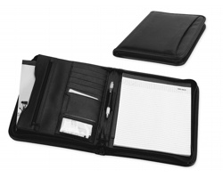 Konferenční desky na zip GIOVANNA, A4 s blokem - černá