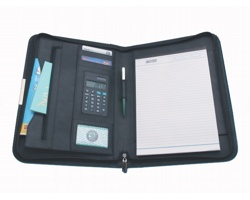 Konferenční desky DANNY, A4 s kalkulačkou a blokem - černá