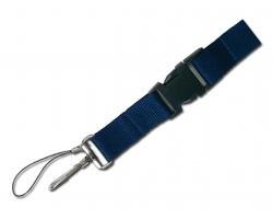 Textilní šnůrka na krk IDA s karabinou a poutkem - modrá