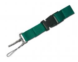 Textilní šnůrka na krk IDA s karabinou a poutkem - zelená