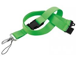 Textilní šnůrka na krk IDA s karabinou a poutkem - světle zelená