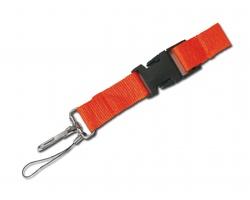 Textilní šnůrka na krk IDA s karabinou a poutkem - oranžová