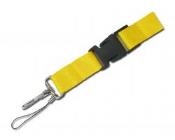 Textilní šnůrka na krk IDA s karabinou a poutkem - žlutá