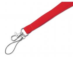 Textilní šňůrka na krk MACY s karabinou a poutkem - červená
