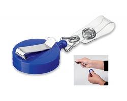 Plastový samonavíjecí držák s kovovým klipem SWINNY - královská modrá