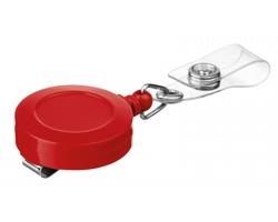 Plastový samonavíjecí držák s kovovým klipem SWINNY - červená