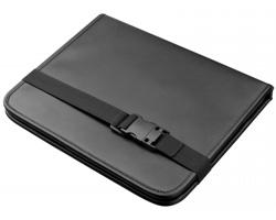Organizér do auta z imitace kůže CARLET s držákem na tablet - černá