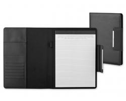 Konferenční desky DEALER z imitace kůže s blokem A4 - černá