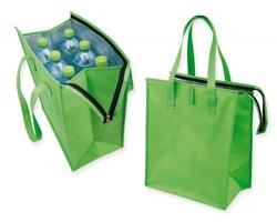 Netkaná nákupní termotaška GLACY uzavíratelná zipem - světle zelená