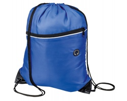Polyesterový stahovací batoh GARU s otvorem pro sluchátka - královská modrá