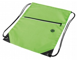 Polyesterový stahovací batoh GARU s otvorem pro sluchátka - reflexní zelená