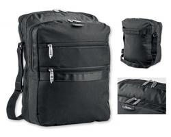 Polyesterová taška na dokumenty SANTINI ASMA s popruhem přes rameno - černá