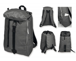Polyesterový batoh GAVAN s atypickým zavíráním hlavního prostoru - šedá