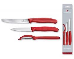 Značková sada kuchyňských nožů a škrabky Victorinox SWISS SET, se 3 doplňky - červená