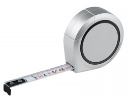 Plastový svinovací metr TRIEM s dotykovou aretací, 3 m - saténově stříbrná