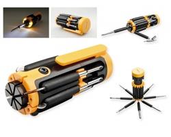 Plastový multifunkční nástroj TEX s 9 doplňky - žlutá