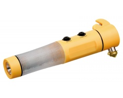 Pohotovostní kladivo FLASHMER s LED světly a magnetem - žlutá