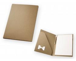 Papírové desky na dokumenty ECOFOLDER s blokem a kuličkovým perem, A4 - přírodní