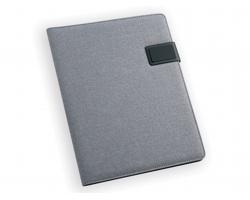 Konferenční desky z imitace kůže a plátna SABANG s linkovaným blokem, formát A4 - světle šedá
