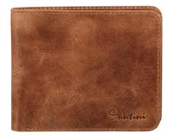Značková kožená pánská peněženka Santini SEYMOUR s kapsou na mince - hnědá