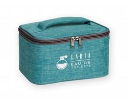 Polyesterová kosmetická taška FAYETTE na zip - vodově modrý melír