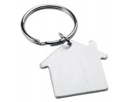 Kovový přívěsek na klíče HAUS tvaru domečku - saténově stříbrná