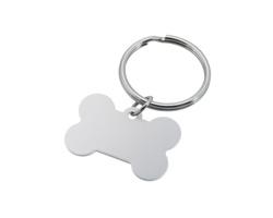 Kovový přívěsek na klíče BROCK kost pro psa - saténově stříbrná